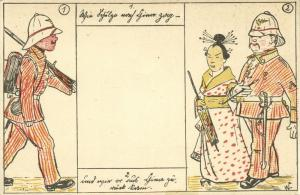 china, BOXER REBELLION, Caricature, German Soldier conquers Chinese Girl (1899)
