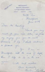Helen Hill Actress Hand Signed Ephemera ORIGINAL Letter