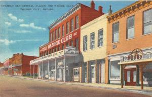 Virginia City Nevada 1940s Postcard Old Crystal Saloon & Washoe Club
