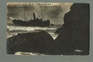Crescent City CALIFORNIA RP 1908 SHIPWRECK Night Shot S.S. CHRISTINA nr Klamath