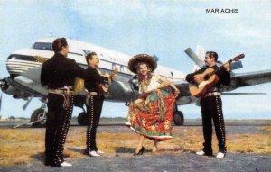 MARIACHIS Pan American World Airways Mexicana De Aviacion 1950s Vintage Postcard
