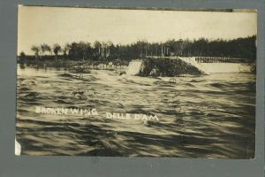 Wisconsin Dells WI RPPC c1910 DAM COLLAPSE Destruction FLOOD nr Portage Baraboo