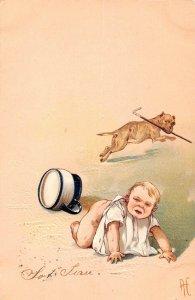 LP36 PFB Publisher Baby potty training Bull Dogs  vintage postcard  6 card lot