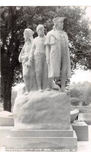 <A17> OHIO Oh Postcard Real Photo RPPC MARIETTA c1950 MONUMENT City Park