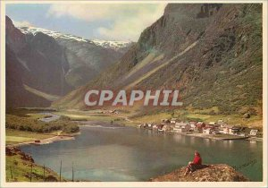 Old Postcard Gudvangen Norway Sogn The Naeroy Valley in the background