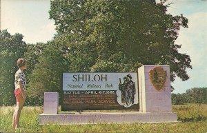 Shiloh TN, Civil War Battlefield Park, Cannon, Artillery, 1960's, Girl at Sign