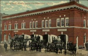 Lima OH Fire Station & Steam Engines c1910 Postcard