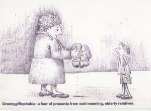 Grandma Grandparents Bad Presents Hand Signed Comic Postcard