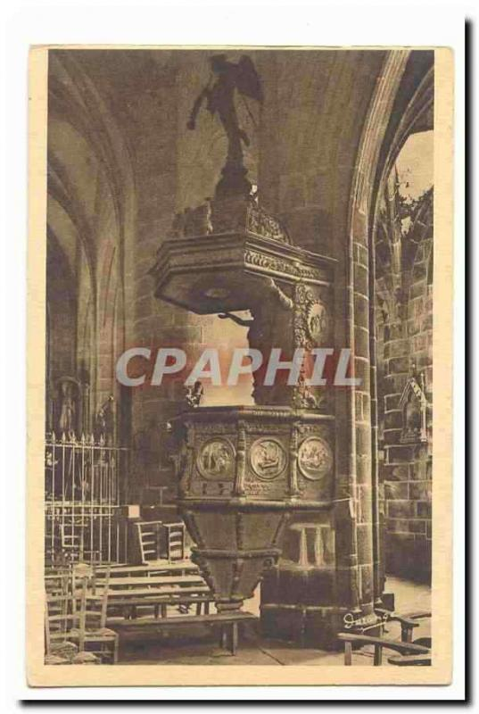 Locronan Vintage Postcard Interior of the church the pulpit 15th