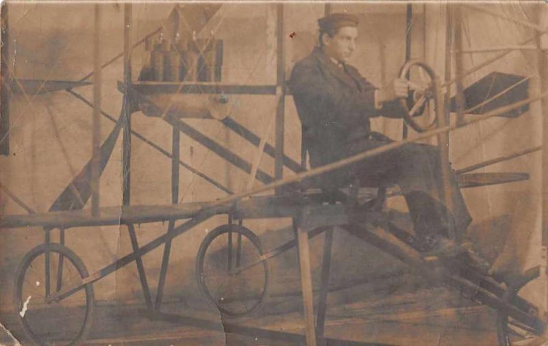 Pilot Aviator Man in Airplane Real Photo Vintage Postcard J926323