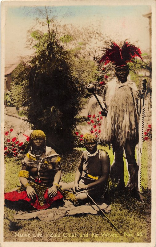G58/ South Africa Foreign RPPC Postcard Zulu Chief Wives