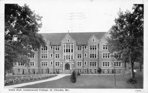 St Charles Missouri~1920s Irwin Hall @ Lindenwood College~1920s B&W Postcard