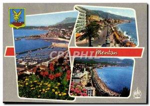 Postcard Moderne Menton The new port Boulevard General Leclerc