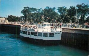 Sault Ste Marie Michigan~Soo Locks~Cruise Boat The Holiday~Flag Pennants~1950s