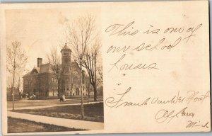 RPPC School House in Alpena MI c1906 Undivided Back Vintage Postcard S35