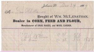 1889 Billhead, Wm. McLenathan, Dealer in Corn, Feed & Flour,  Johnson, Vermont