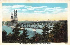 Bath Maine~Carlton Bridge over Kennebec River~1920s Postcard
