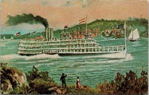 Steamboat Robert Fulton Kapex 71 Fort Orange Stamp Club Albany NY Postcard F14