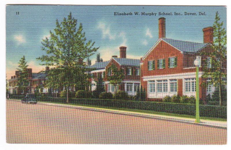 Elizabeth Murphy School Dover Delaware linen postcard