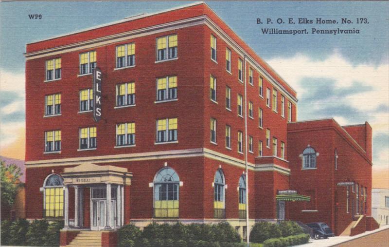 B. P. O. E. Elks Home, No. 173, WILLIAMSPORT, Pennsylvania, 30-40s
