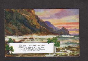 Ireland UK Wild Shores of Erin Shamrock Valentine's Art Colour Postcard Poem