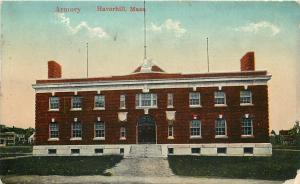 Haverhill Massachusetts~Wide Path to Steps @ Armory~Wispy Clouds c1914