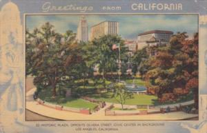Greetings From California HIstoric Plaza Opposite Olvera Street Los Angeles 1...