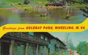 West Virginia Wheeling Greetings From Oglebay Park Showing Schenk Lake & ...