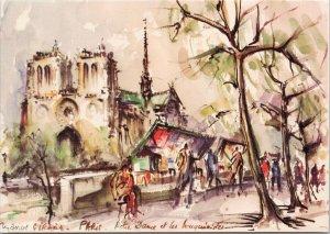 Paris France Notre Dame Cathedral Unused Girard Art Postcard C3