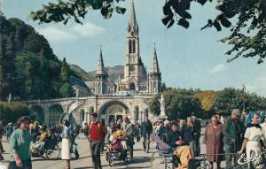 France Lourdes sick people comming back from the Grotto 1971