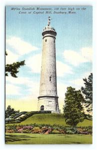 Postcard MA Duxbury Myles Standish Monument on Capitol Hill Vintage Linen H01