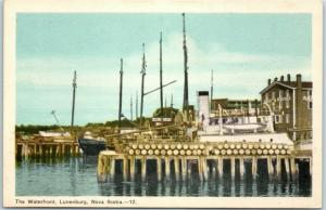 Lunenburg, Nova Scotia NS Canada Postcard The Waterfront Boat Marina c1940s