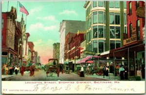 Baltimore, Maryland Postcard LEXINGTON STREET, Shopping District c1900s