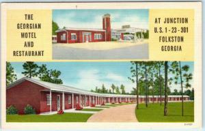 FOLKSTON, Georgia GA  Roadside GEORGIAN MOTEL & Restaurant c1940s Linen Postcard