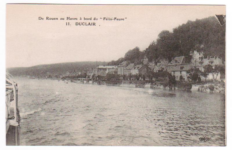 Duclair au bord Steamer Felix Faure Rouen Havre France 1910s postcard