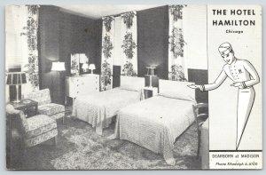 Chicago Illinois~Hotel Hamilton~Dearborn at Madison~Drawn Porter Shows Room~1954