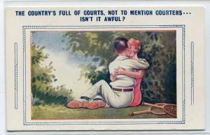 Tennis Courts Match Courting Love Romance Couple postcard