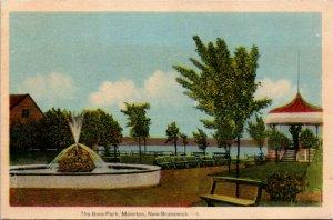 Postcard NB Moncton The Bore Park Water Fountain Gazebo Benches C.1940 K12
