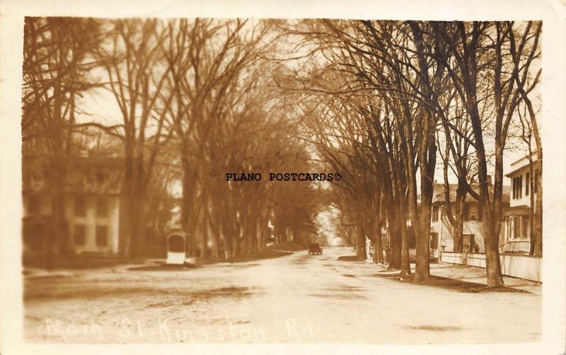KINGSTON, RHODE ISLAND MAIN STREET-1915 RPPC REAL PHOTO POSTCARD