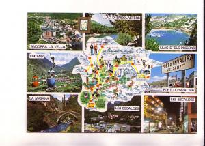 Eightview and Center Map of Valls D'Andorra France and Spain