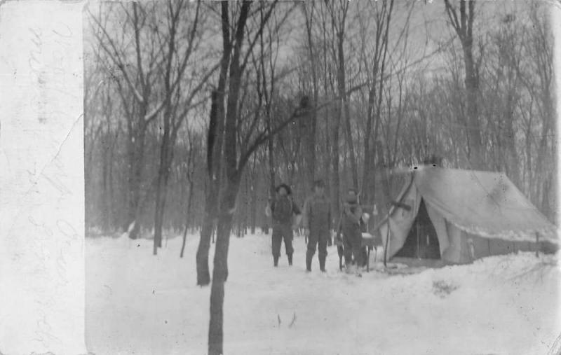 Lone Rock Wisconsin Winter Camping Scene Real Photo Antique Postcard J80448