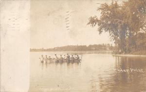 Cedar Point Illinois~Bathing Beauties~Beach Bums Hold Boat~Cedar Creek~1907 RPPC