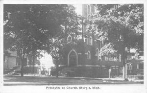 Sturgis Michigan~Presbyterian Church Nestled in the Shade 1920s Sepia Postcard