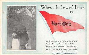 Love Leads the Way in Burr Oak IA? Michigan? MO?~Lovers Lane~1916 Pennant PC