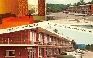 Mt. Vernon Renfro Valley Kentucky 1960s Postcard Gregory's New Motel Room Pool