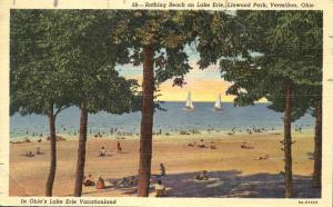 Bathing Beach on Lake Erie - Linwood Park, Vermilion, Ohio - pm 1951 - Linen