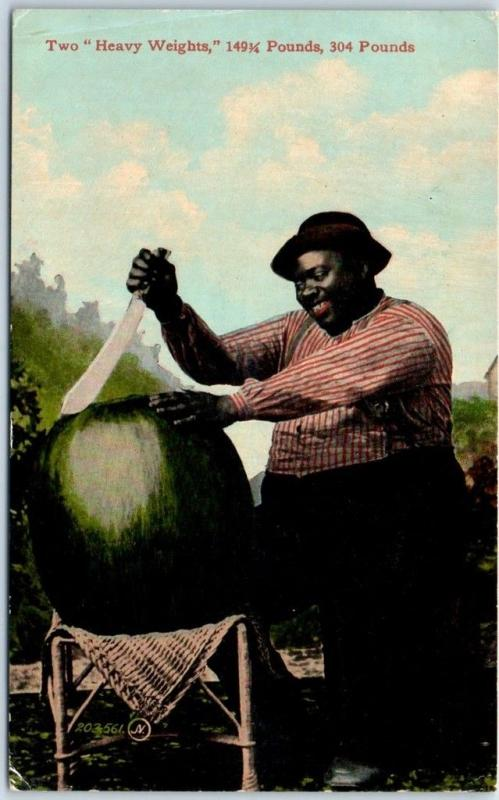 Vintage Black Americana Postcard Large Black Man & Watermelon 2 Heavy Weights