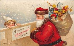 F99/ Santa Claus Christmas Postcard c1910 Ellen Clapsaddle Child 3
