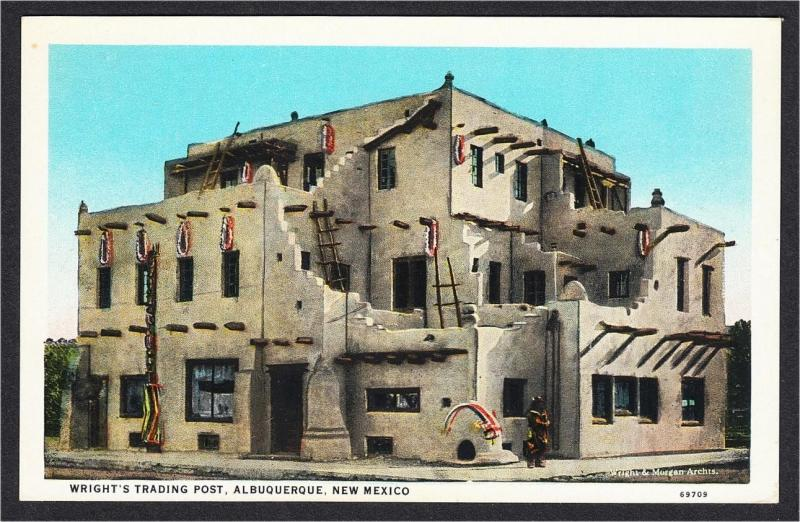Albuquerque NM Wright's Indian Trading Post White Border Postcard c.1920s