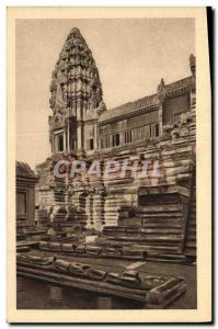 Old Postcard Angkor Wat Western Part of the second floor courtyard and Northw...